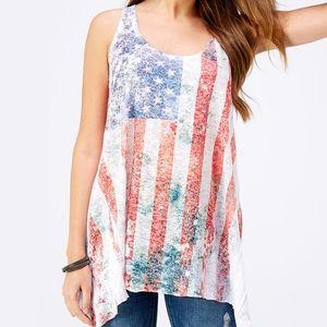 ABS American Flag Burnout Handkerchief Hem Tank